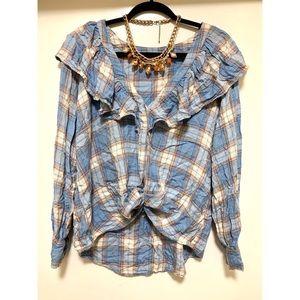Beautiful ruffle plaid button blouse